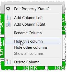 Modify columns menu