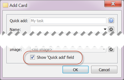 'Quick add' field