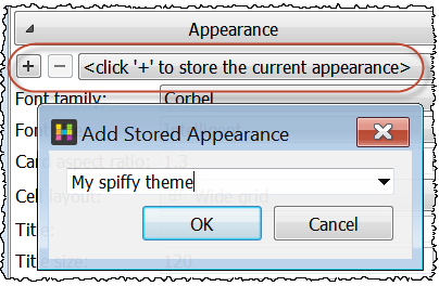 Save appearance settings
