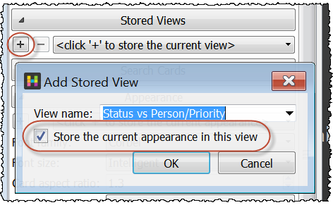 Save appearance settings in a stored view