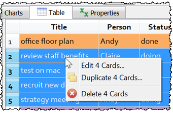 Table pane context menu